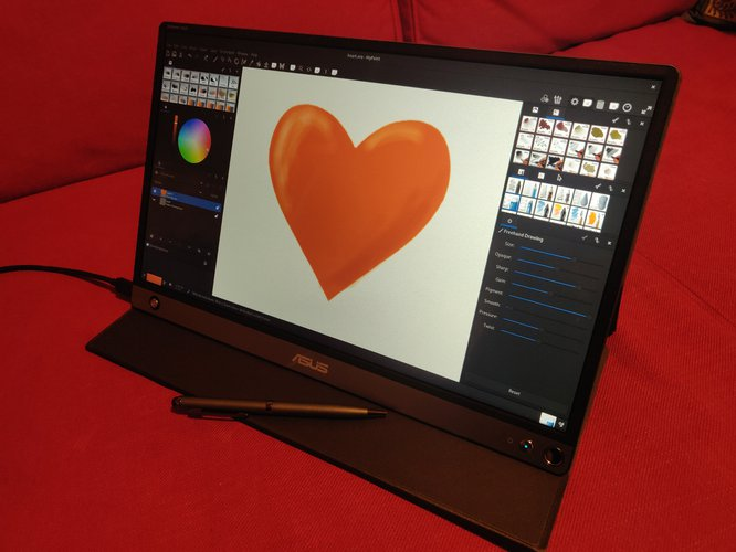 ZenScreen Touch showing a heart symbol drawing in MyPaint